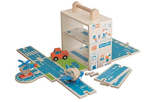 roba Spielwelt 'Flughafen', Holzspielzeug fùr's Kinderzimmer & unterwegs mit stabiler Spiel- & Aufbewahrungsbox