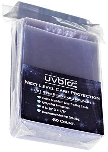 baseball card protectors UVBloc Semi Rigid Baseball Card Sleeves (50 Count) Holder Protectors for Trading Basketball Football Cards