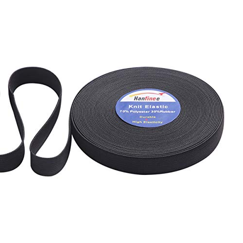 HANFINEE 3/4 Inch Wide Sew on Elastic Band Knitted Elastic with Heavy Stretch forSewing Crafts DIY,Waistband,Bedspread,Cuff(Black,15 Yards)