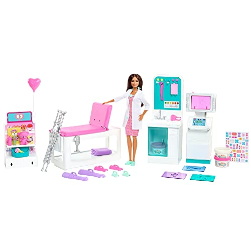 Barbie Fast Cast Clinic Playset, Brunette Doctor Doll (12-in), 30+ Play Pieces, 4 Play Areas, Cast & Bandage Making, Medical & X-ray Stations, Exam Table, Gift Shop & More, Great Toy Gift