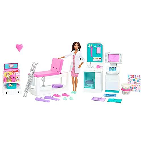Barbie Métiers coffret Clinique avec poupée docteure brune e