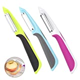 Rubywoo&chili Swivel Peeler, 3 PCS Stainless Steel Sharp Potato Peelers with Non-Slip Handles and Rotary Blades for Apples Carrots Cucumbers
