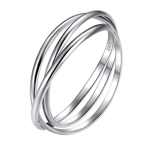 Slim Interlocking Rings, Sterling Silver 3 Band Ring, Tri Band Ring, Stacking Rings Jewelry, 925 Sterlings Silver Triple Interlocked Rolling High Polish Ring for Women Teen Girls Size 8