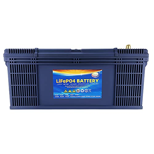 MOSEWORTH 12V 160Ah Lifepo4 Lithium Battery Deep Cycle Built-in BMS Life More Than 3000~7000 Cycles for RV Marine Golf CartSolar Campers StorageWind Energy W/ Lifepo4 Battery Charger