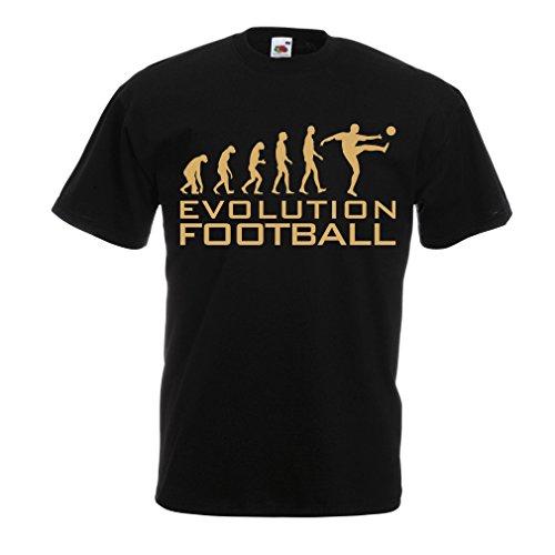 lepni.me Camisetas Hombre La evolución del fútbol - Camiseta de fanático del Equipo de fútbol de la Copa Mundial (XXXX-Large Negro Oro)