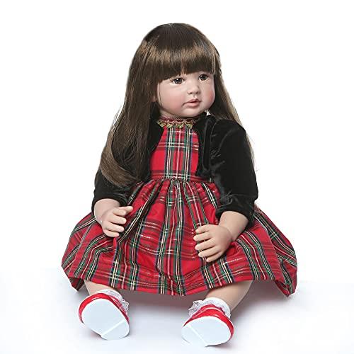 MAIDEDOLL Reborn Muñecas de bebé de Vinilo de Silicona Suave Realista Recién Panda Coat Negro Zapatos de Pantalones Nacido para niños Mayores de 3 años Juguete (60CM)