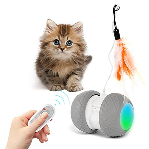 Interactive Cat Toys for Indoor Cats, LIDLOK Remote Control Electronic Moving Cat Toys with USB Charging/Colorful Led Wheels/Cat Feather Toys