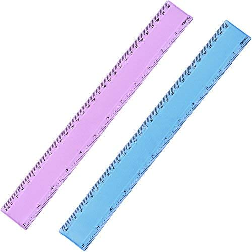 eBoot 2 Pieces Plastic Color Ruler Straight Ruler Math Rulers (12 Inches, Pink and Blue)