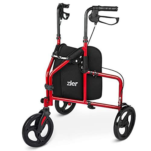 Zler 3 Wheel Walker for Seniors, Lightweight Aluminum Folding 7.5'' Three Wheel Rollator Walker with Height Adjustable Handles and Storage Bag Red
