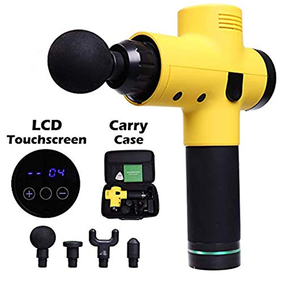 デザイナー怠けたポスター携帯用銃のマッサージャー、深い筋肉マッサージLCDスクリーン4の取り替え可能な頭部20の速度レベル筋肉刺激の苦痛救助の打楽器療法
