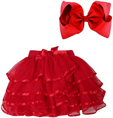 BGFKS 4 Layered Tulle Tutu Skirt for Girls with Matching Hairbow Girl Ballet Tutu Skirt Red product image