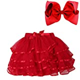 BGFKS 4 Layered Tulle Tutu Skirt for Girls with Matching Hairbow,Girl Ballet Tutu Skirt (Red, 7-10 Years)