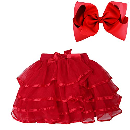 BGFKS 4 Layered Tulle Tutu Skirt for Girls with Matching Hairbow,Girl Ballet Tutu Skirt (Red, 3-4 Years)