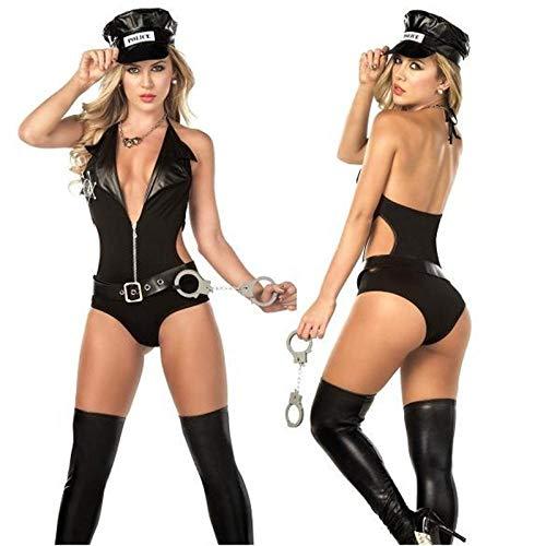 KHDFYER Bademantel Kurz Damen Polizist Kostüm Erwachsene Sexy Kleid Black Cop Erotik Overalls Kostüme Uniform Cosplay Polizistinnen Kostüm Disfraces-Schwarz_M.