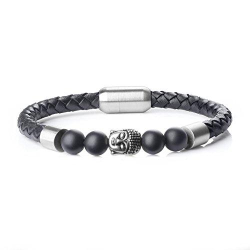 coai® Geschenkideen Glücksarmband aus Geschliffenem Onyx und Lederarmband mit Buddha-Kopf Magnetverschluss aus Edelstahl für Herren