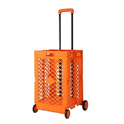 JTKDL Utility Cart Foldable Hand Truck Shopping Cart Travel, Shopping, Auto, Moving and Office Use (Color : Orange)