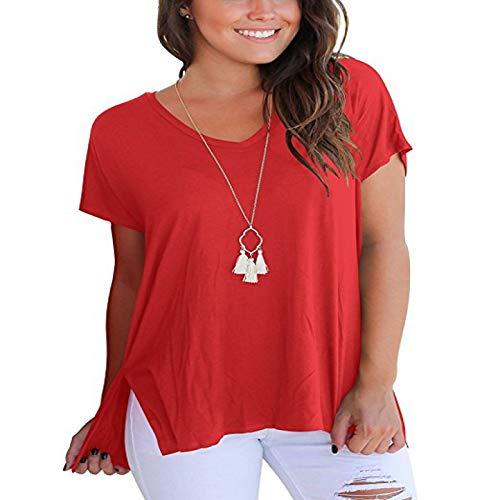 Camiseta para Mujer Color sólido Costura Suelta Tendencia Apertura Lateral Moda Simple Cuello en V Casual Manga Corta Jersey Top S