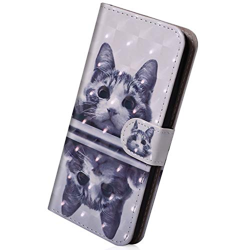 Herbests Hülle Kompatibel mit iPhone XR Flip Case Hülle Leder Tasche Glitzer Elegante Lederhülle Schutzhülle Klapphülle Dünn Handy Schutzhülle Wallet Cover Geldbörse,Niedlich Katze