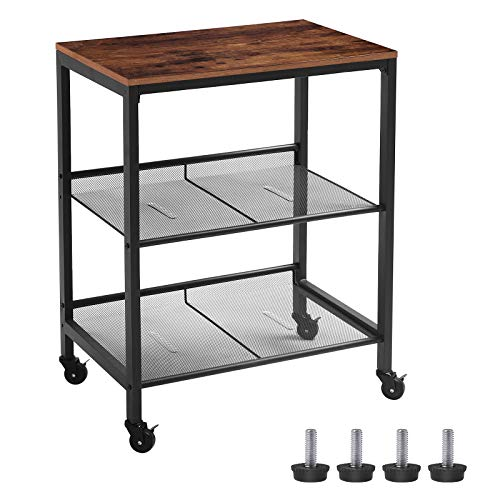 HOOBRO Serving Cart, 3-Tier Kitchen Utility Cart on Wheels, Storage Shelves with Adjustable Feet, Industrial Design, for Kitchen and Living Room, Bedroom, Entryway, Easy Assembly BF01TC01