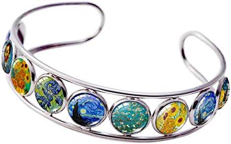 Cuff Bracelet Art Pattern Under Glass Dome Jewelry Handmade Van Gogh product image