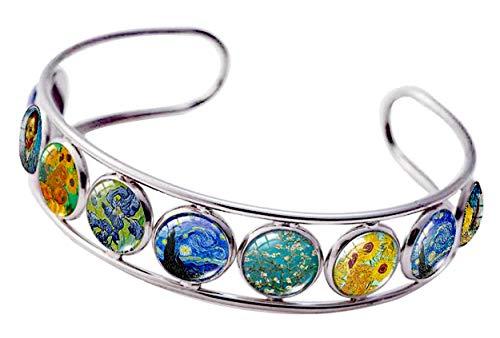 Cuff Bracelet Art Pattern Under Glass Dome Jewelry Handmade (Van Gogh)