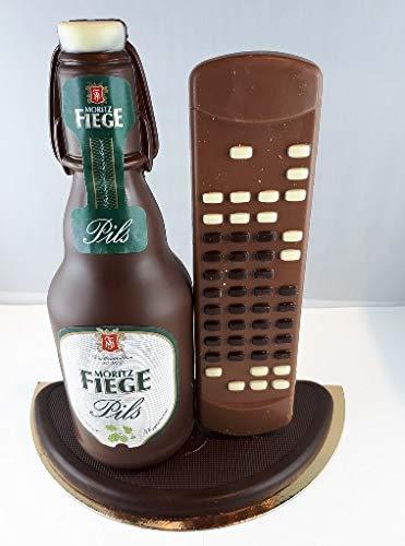 04#022621 Schokolade, Bierflasche Fiege mit Bügel und Fernbedienung in ORIGINAL Größe, mit Fußball, Fiege Bier, Bierflasche aus Schokolade, Vatertag, echte Etiketten,'