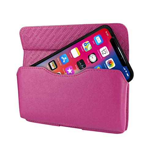 Piel Frama iPhone X Horizontal Pouch Leather Case - Fuchsia