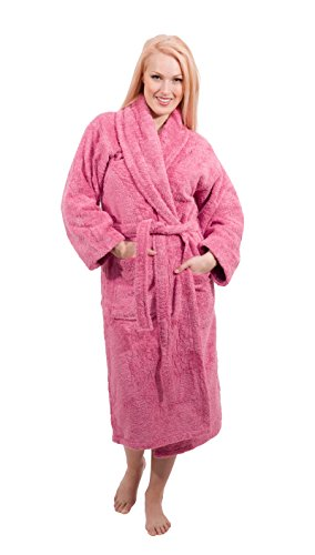 Luxury Terry Cloth Hotel Bathrobe - Premium 100% Turkish Cotton Robe Unisex (Medium, Pink)