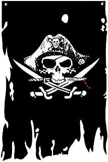 FLAGLINK Dead Man's Chest Flag 3X4.8Fts Skull Bones Jolly Roger Crossbone Pirate Banner Creepy Ragged Vertical