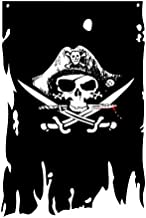 FLAGLINK Dead Man's Chest Flag 3X4.8Fts Skull Bones Jolly Roger Crossbone Pirate Banner Creepy Ragged Vertical
