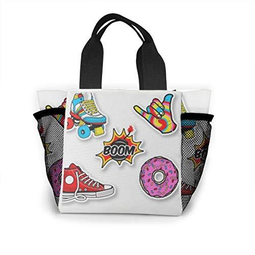Lunch-Tasche für Damen, Handtaschen, Lunch-Tasche für Arbeit, Picknick oder Reisen – Retro-Aufkleber