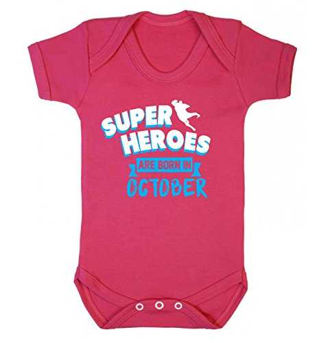 Flox Creative Baby Vest Superheroes are Born in October - Rose - XS