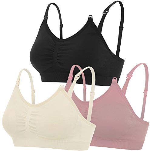 Nursing Bras, Maternity Breastfeeding Intimates, Seamless 3 Pack (Grey/Pink/Sand, X-Large)