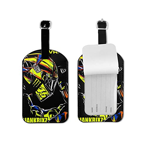 Valentino Rossi VR46 Travel Luggage Labels Tags for Smart Travellers-Best for Preventing Loss of Bags and Suitcases Microfiber PU Leather 2.7inchx4.3inch