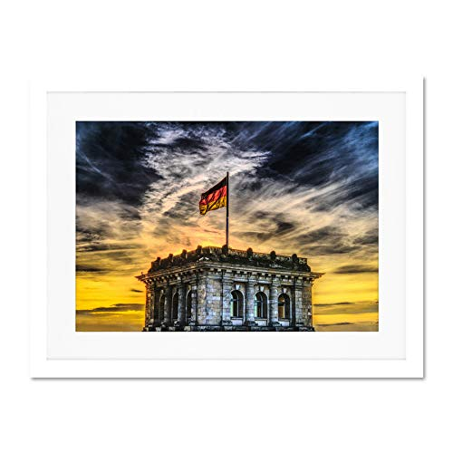 B&estag Flag Berlin Large Art Print Poster Wall Decor 18x24 inch Supplied Ready to Hang with Included Mount Brackets Flagge Große Kunst Wand Deko
