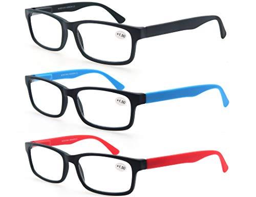 MODFANS (3 Pack) Lesebrille 1.5 Herren/Damen,Gute Brillen,Hochwertig,Rechteckige,Komfortabel,Super Lesehilfe,fur Manner und Frauen,Schwarz-Blau-Rot