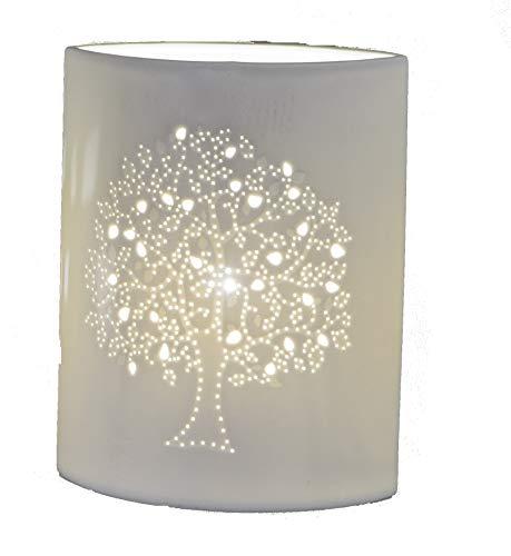 Formano Lebensbaum Tischlampe Nachttischlampe Dekolampe aus Keramik (23 cm)