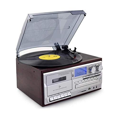 KOSHSH Hi-Fi&Home Audio Tocadiscos Tocadiscos Reproductor Discos Vinilo Soporte CD Radio FM Disco en U Tarjeta SD para Discos Vinilo Reproductor Discos Vintage Correa Tocadiscos música Tocadiscos