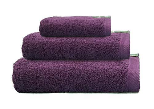 ADP Home - Juego de Toallas 550 Grms 3 Piezas (Toalla Ducha/Baño, Lavabo/Mano, Tocador) 100% Algodón Peinado - Color: Púrpura