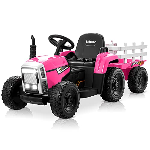 Kidzone 12V 7AH EVA Treaded Tires Kids Battery Powered Electric Tractor with Trailer Toddler Ride On...