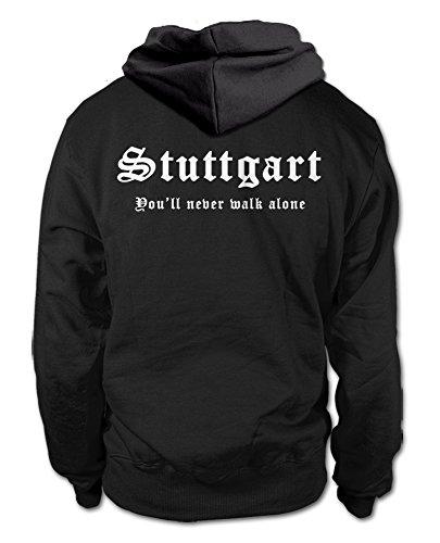 shirtloge Stuttgart - You'll Never Walk Alone - Fan Kapuzenpullover - Schwarz (Weiß) - Größe L