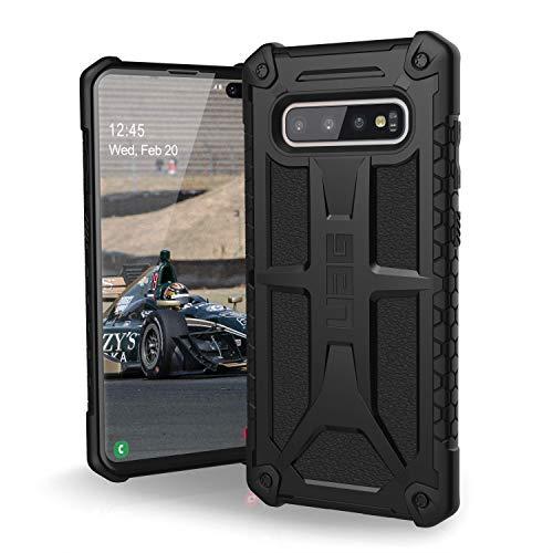 Urban Armor Gear Monarch Hülle für Samsung Galaxy S10+ / S10 Plus nach US-Militärstandard [Qi kompatibel, Sturzfest, Verstärkte Ecken, Leder] - schwarz