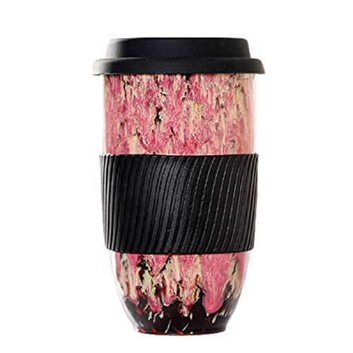 Delisouls Taza de cerámica con tapa de silicona y manga, grande, portátil, reutilizable, cómoda y de estilo único para la vida diaria