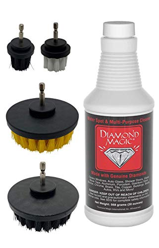 Diamond Magic Combo Pack - 20oz Diamond Magic & 4-pc. Drill Brush Set Commercial Cleaner Removes Tough Water Stains & Spots From Shower Doors, Windshields, Windows, Chrome, Tile, Tubs, Stainless Steel