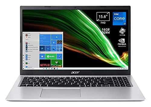 Acer Aspire 3 A315-58G-75FJ PC Portatile, Notebook con Processore Intel Core i7-1165G7, RAM 16 GB DDR4, 512 GB PCIe NVMe SSD, Display 15.6  FHD LED, NVIDIA GeForce MX350 2 GB, Windows 10 Home, Silver