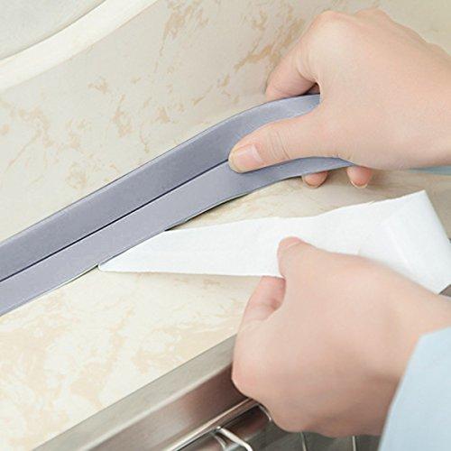 Gugutogo 38mm * 3.2M wasserdichtes Hauptküchen-Badezimmer-Badewanne-Wand-Dichtungs-Band-Streifen Mehltau-beständiges Selbstklebeband für Wanne-Becken (Farbe: Grau)