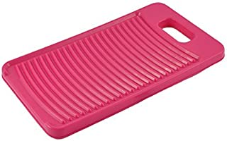 eDealMax Plastic Rectangle Home Laundry Thicken Antislip Shirts Clothes Clean Washing Board Washboard Fuchsia