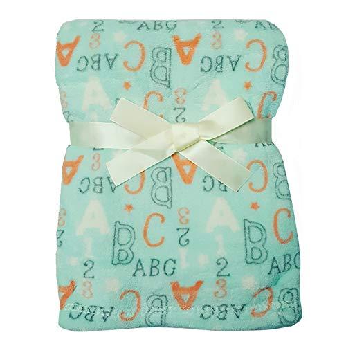 Baby Gear Plush Velboa Ultra Soft Baby Girls Blanket 30 x 40 (Sky ABC)