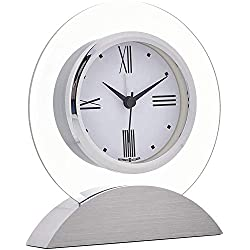 Howard Miller Brayden Alarm Table Clock 645-811 – Modern Glass with Quartz, Alarm Movement