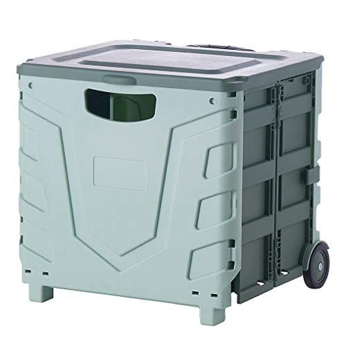 Carro plegable plegable con ruedas para almacenamiento, portátil, resistente, plegable, de plástico, para viajes, compras, mudanzas, uso en la oficina (azul)